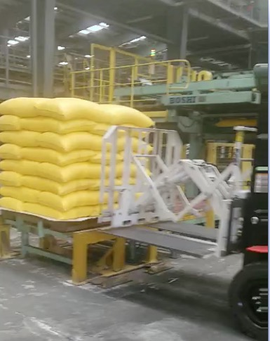 Forklift Pull Push Attachment Use In Handling Fertilizer